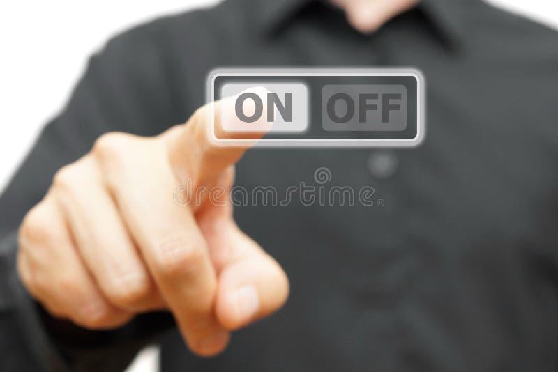 人手按在按钮上 库存例证