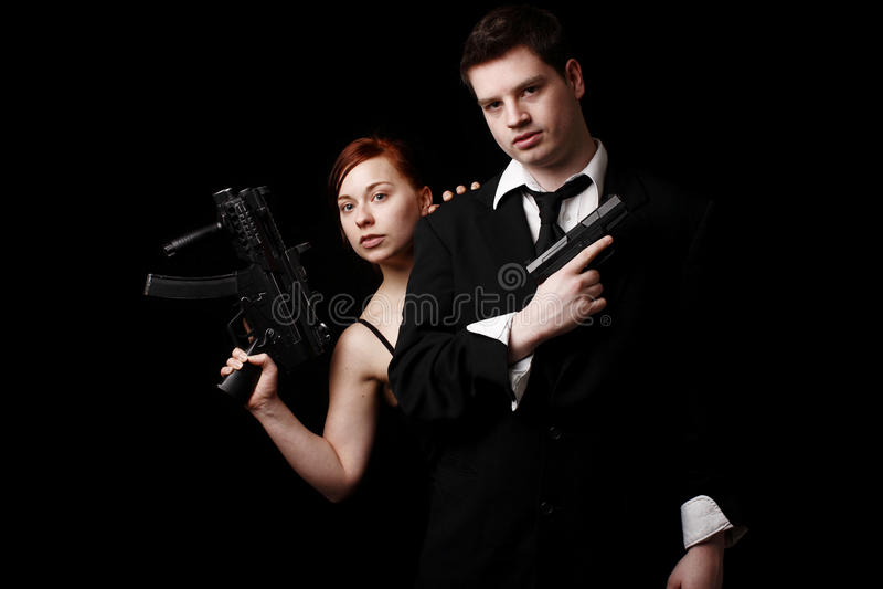 人手枪年轻人 免版税库存照片