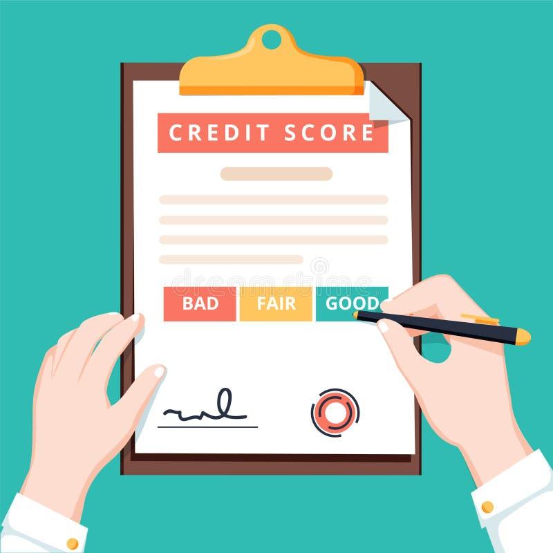 人手特写镜头有剪贴板信用评分和笔的 概念个人信贷比分信息 库存例证