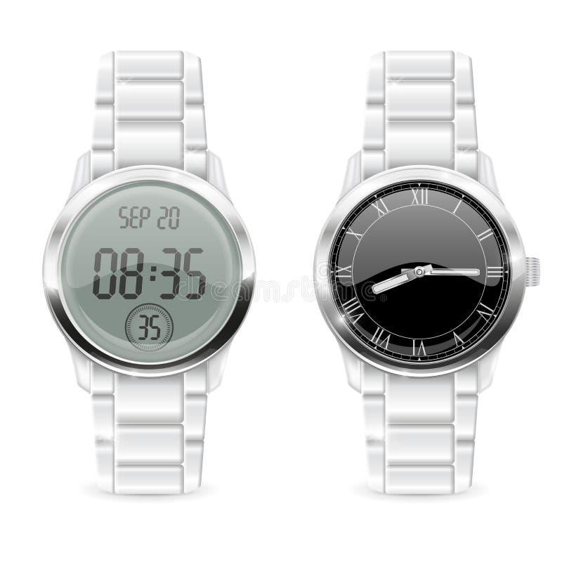 人手表 模式和数字式,与镀铬物金属带 皇族释放例证