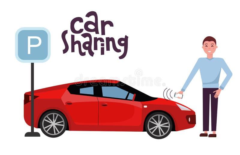 人打开在汽车分享回报的一辆红色汽车与一个手机 跑车侧视图在停车场的在停放的标志附近 向量例证