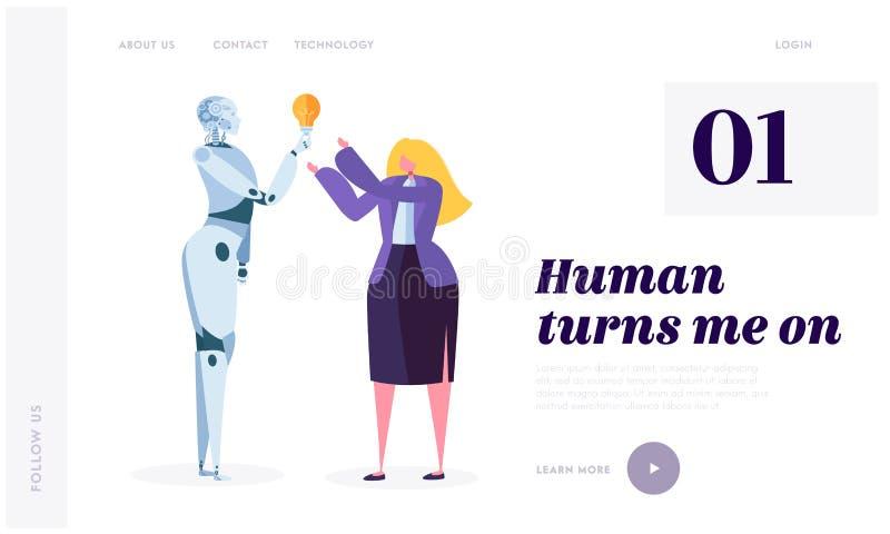 人打开机器人着陆页 机器人的发展是未来世界 人工智能,机器学习 皇族释放例证