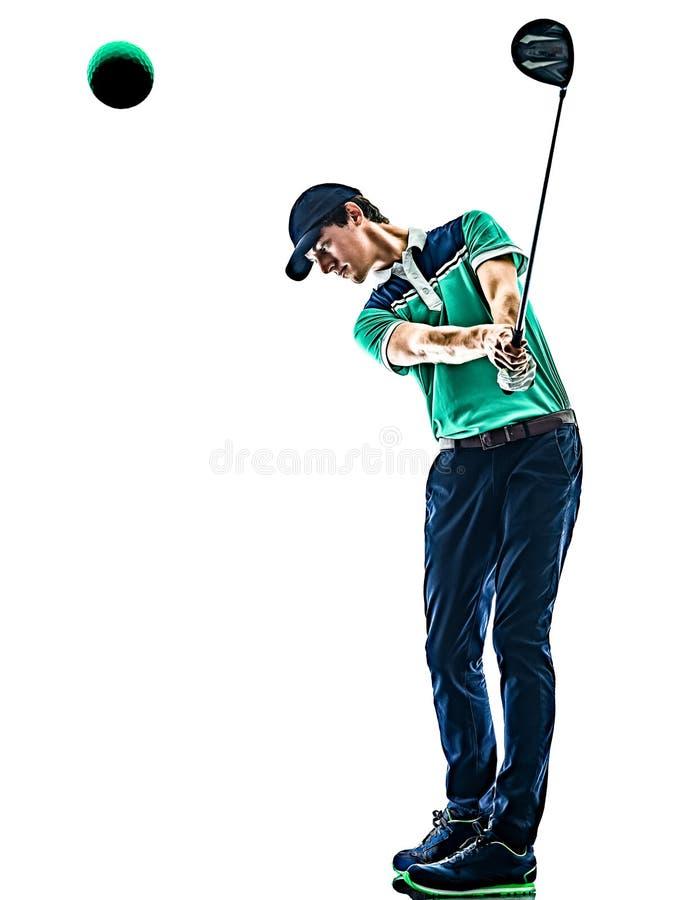 人打高尔夫球被隔绝的白色背景的高尔夫球高尔夫球运动员 图库摄影