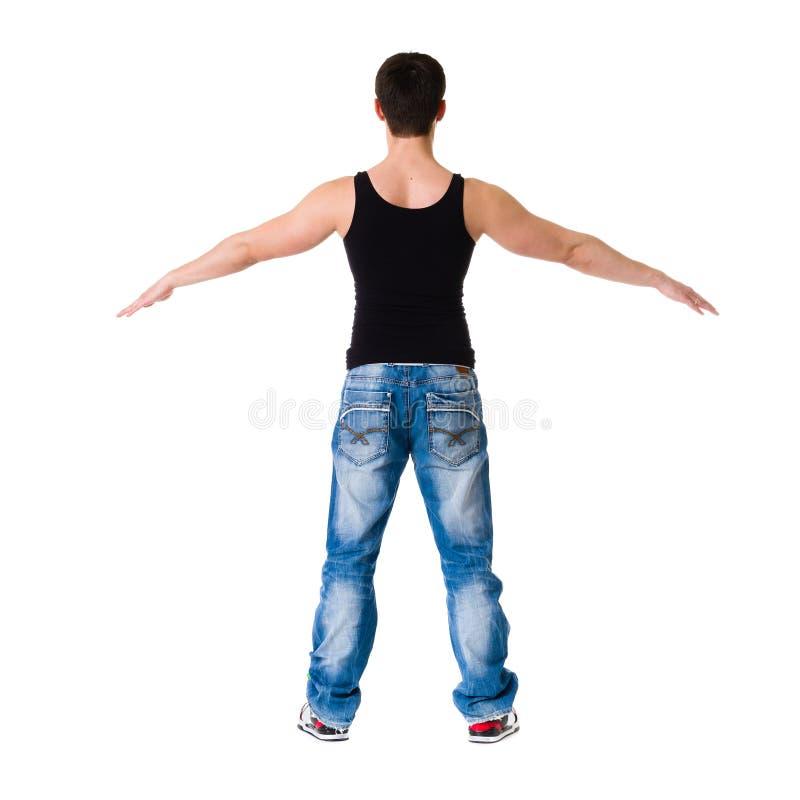 年轻人打破显示他的在白色的舞蹈家技能 免版税库存照片