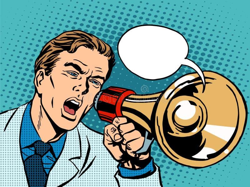人扩音机政策促进 向量例证