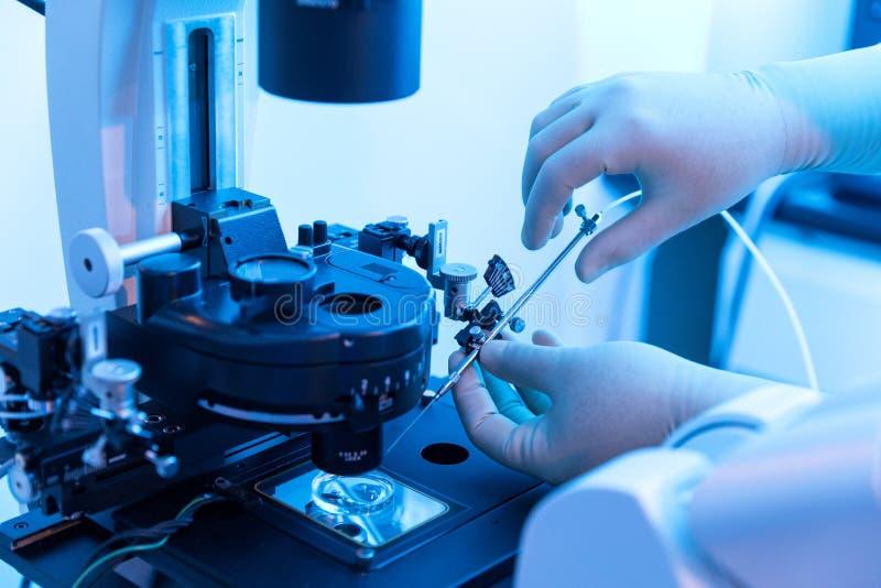 人技术员与实验室设备一起使用 免版税库存照片