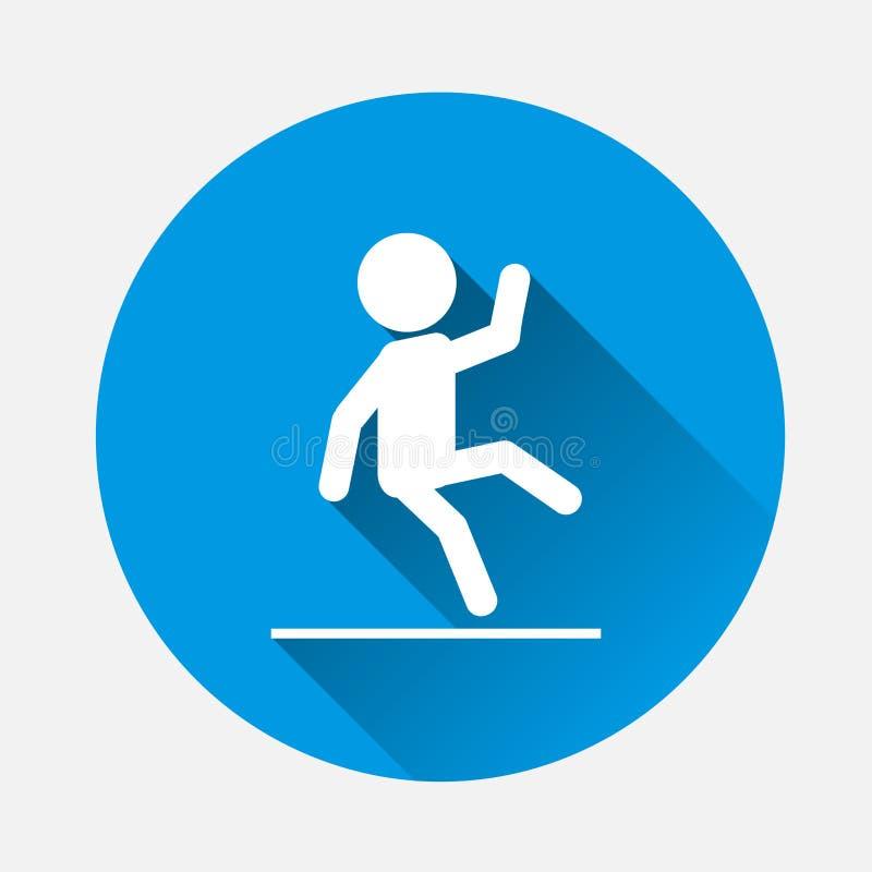 人投下传染媒介象 湿地板,在蓝色背景的溜滑地板的标志 平的图象小心湿与长的阴影 皇族释放例证