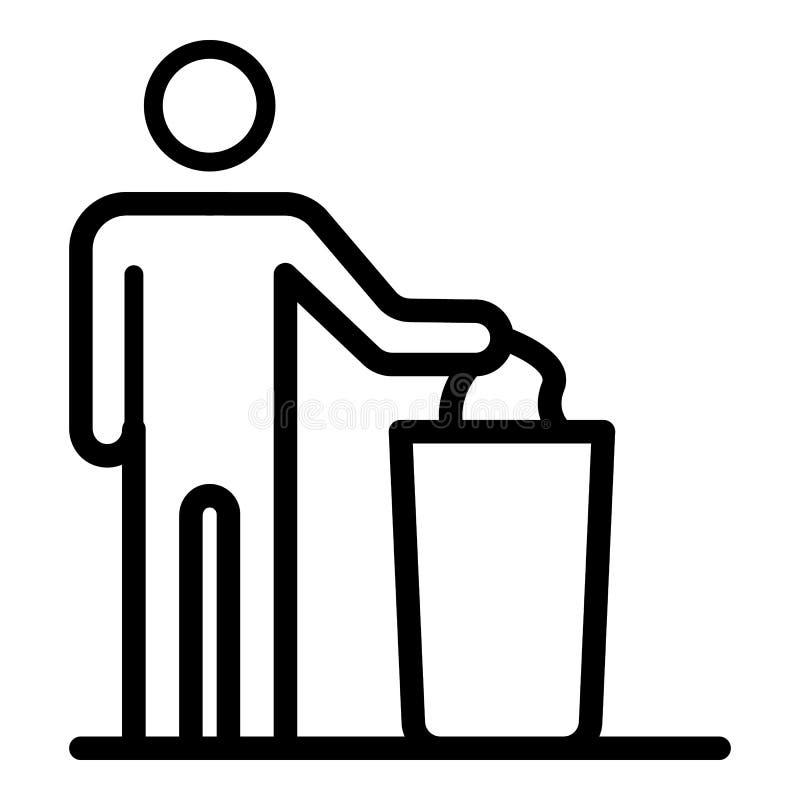 人投掷垃圾入推车象,概述样式 库存例证