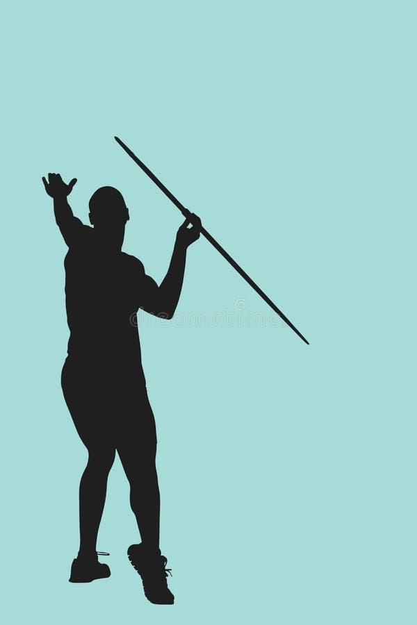 人投掷的javeline背面图的综合图象反对白色背景的 皇族释放例证