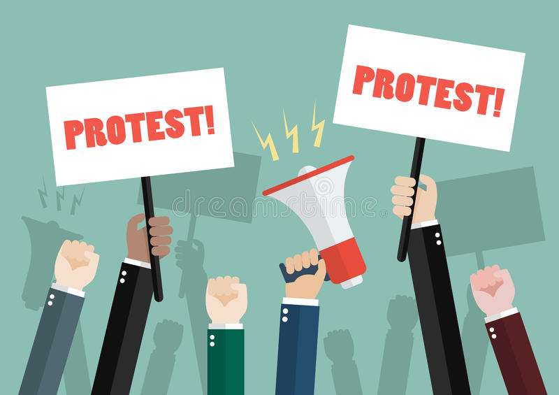 人抗议者人群  向量例证