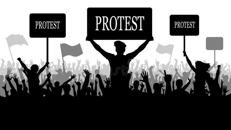 人抗议者剪影人群  抗议,冲突,革命 皇族释放例证