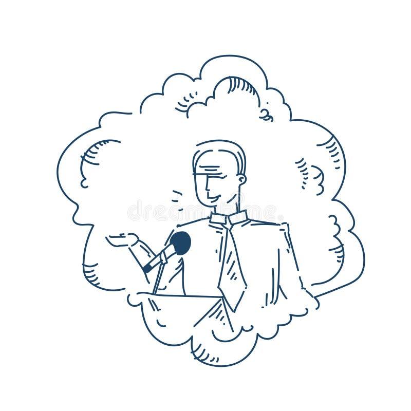 人报告人话筒宴会主持人讲话在白色背景剪影乱画的会议 向量例证