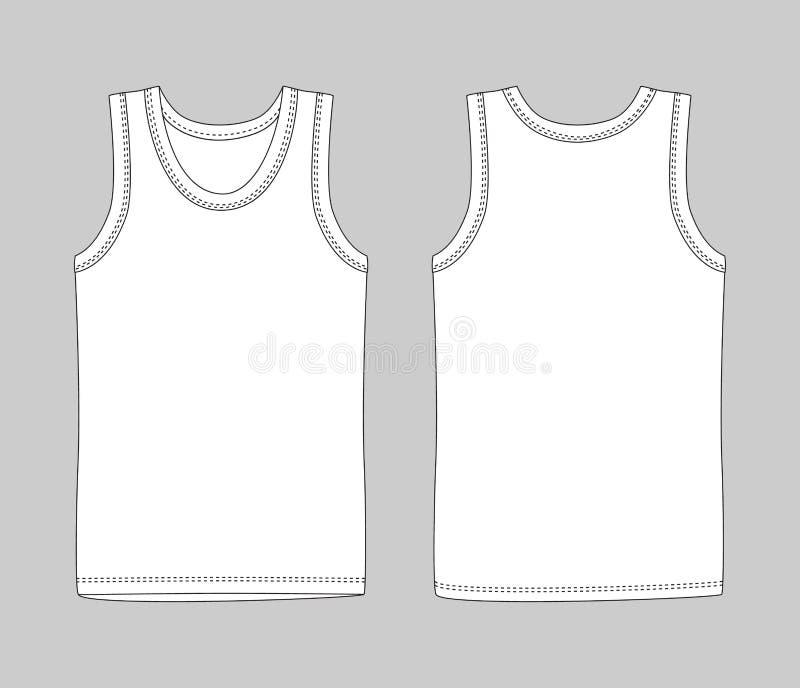 人授予内衣 在前面和后面看法的白色无袖衫 库存例证