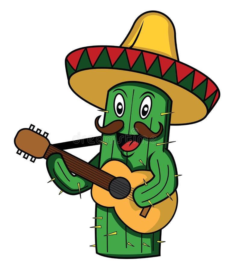 仙人掌墨西哥sombero吉他 向量例证