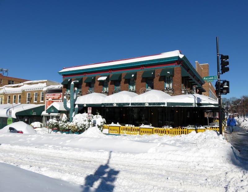 仙人掌小酒吧餐馆在1月 免版税库存图片