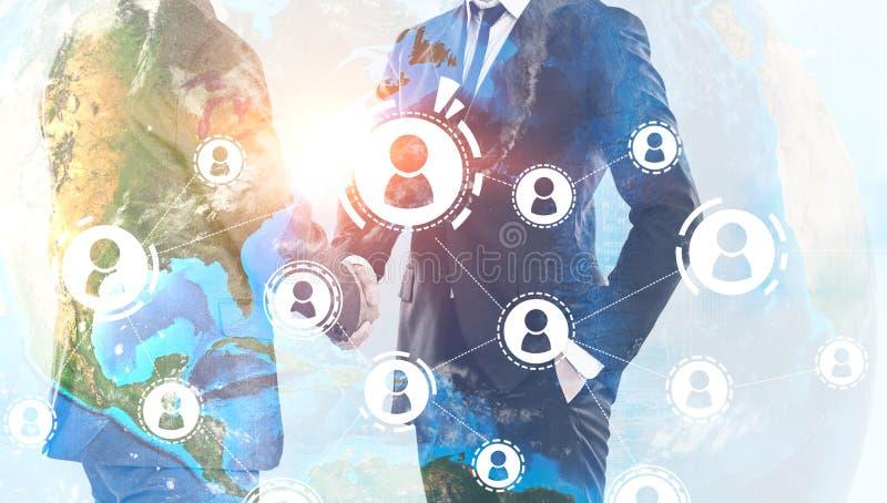 人握手,全球性人网络 向量例证