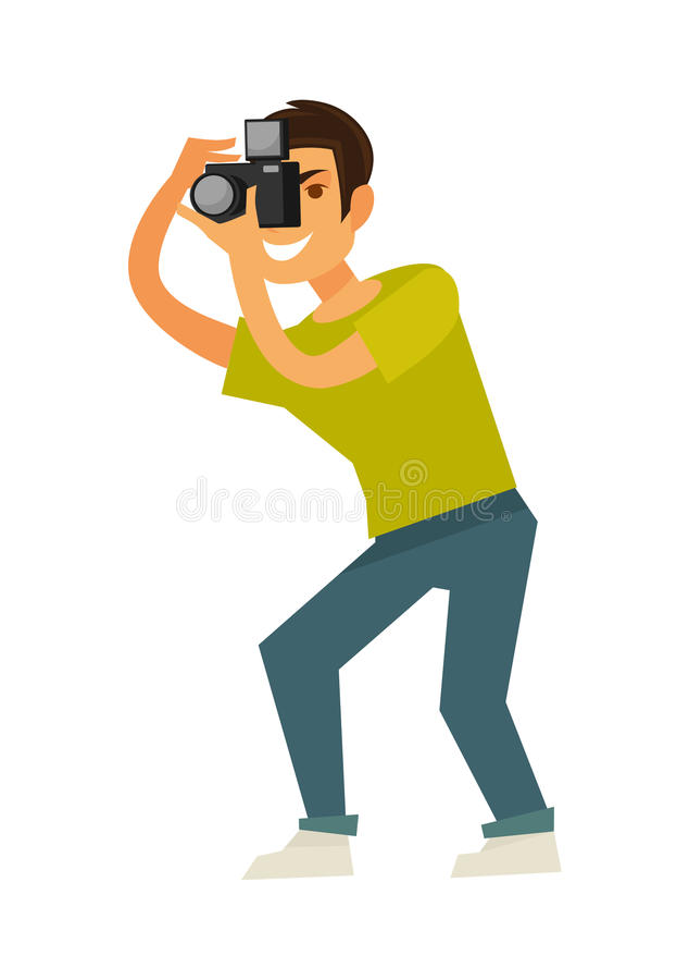 人摄影师拍与反光照相机被隔绝的例证的照片 向量例证