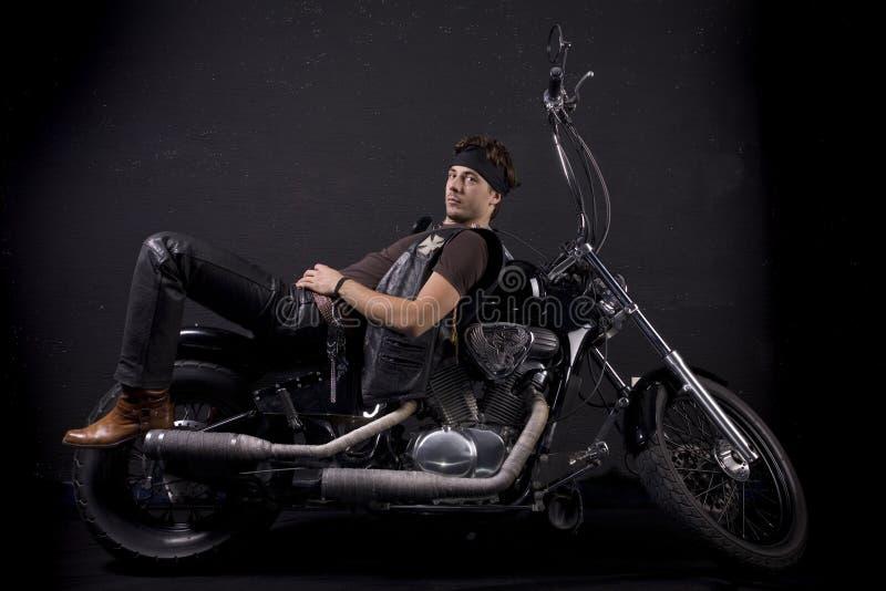 人摩托车年轻人 图库摄影