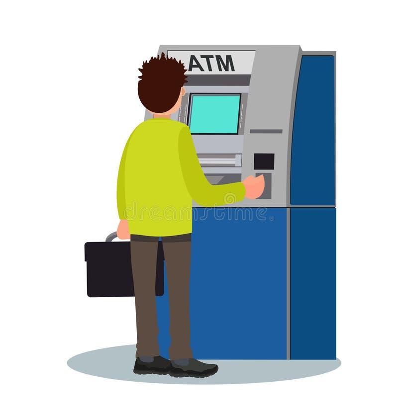 人撤出从ATM的金钱 也corel凹道例证向量 皇族释放例证