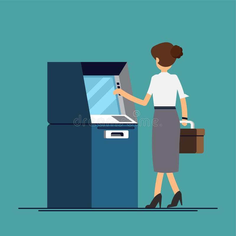 人撤出从ATM的金钱 在一个平的样式的传染媒介例证 向量例证