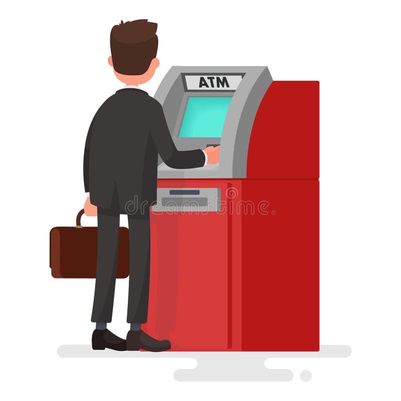 人撤出从ATM的金钱 在平的s的传染媒介例证 向量例证