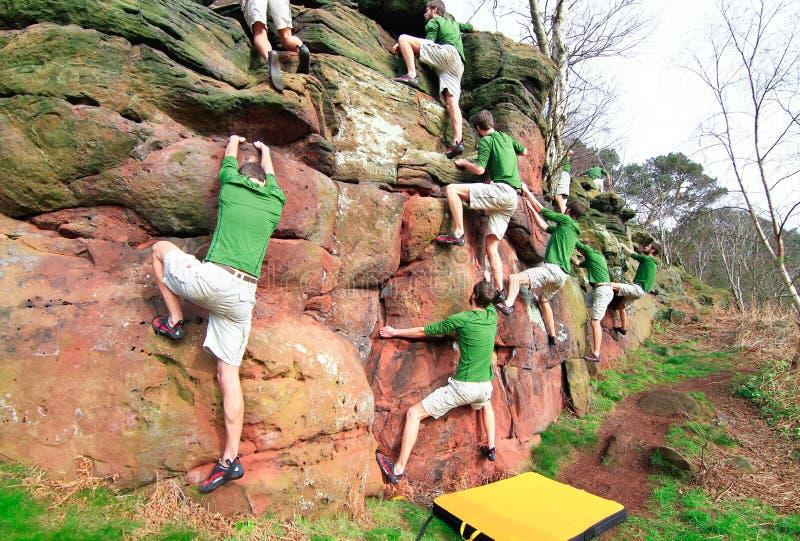 人攀岩的综合图象户外 库存照片