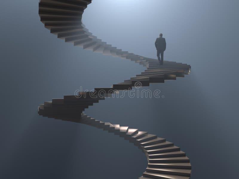 人攀登螺旋形楼梯 皇族释放例证