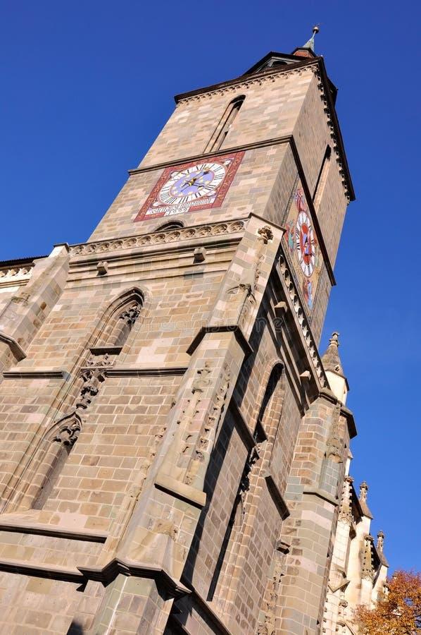 黑人教会和主要堡垒给布拉索夫屋顶塔装门 库存照片