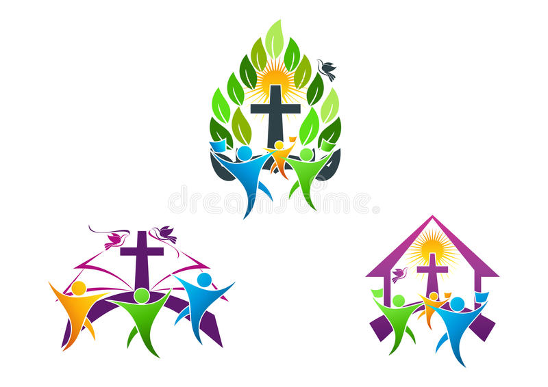 人教会基督徒商标、圣经、鸠和宗教家庭象标志设计 库存例证