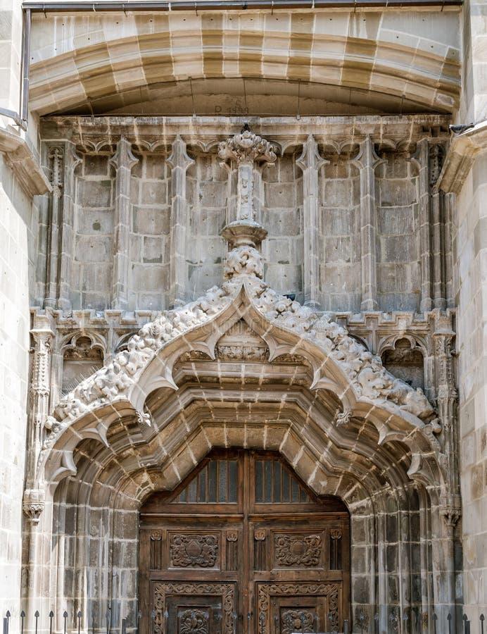黑人教会的门,布拉索夫市,罗马尼亚 图库摄影