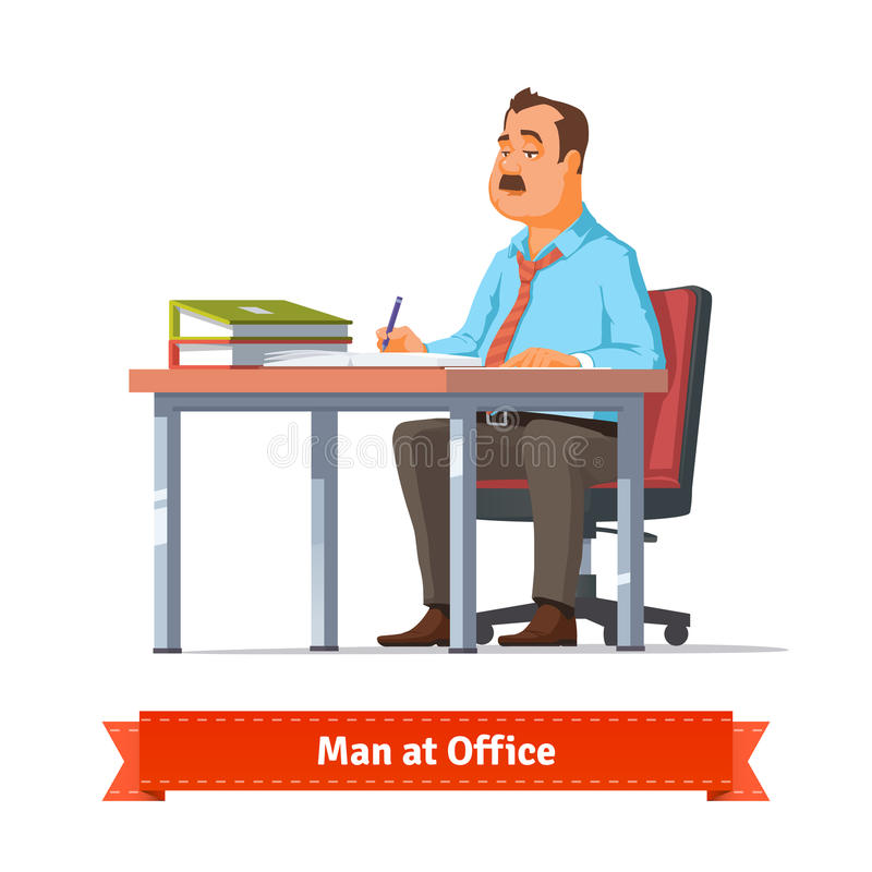 人文字在办公室桌上 皇族释放例证