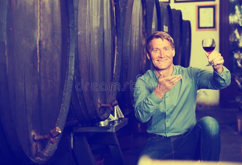 人斟酒服务员在葡萄酒库里 免版税库存图片