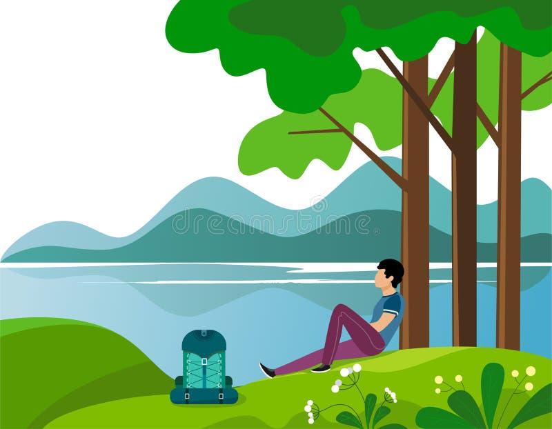 人旅客坐小山在休息的树下并且调查距离和河 r 向量例证