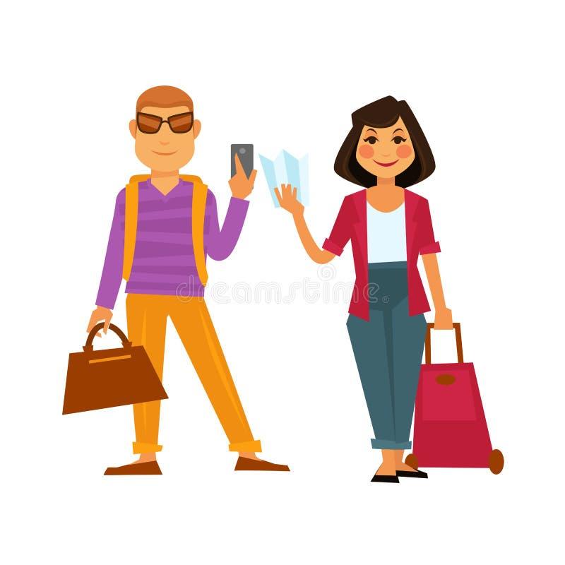 人旅行传染媒介平的象男人和妇女在假日假期绊倒 向量例证