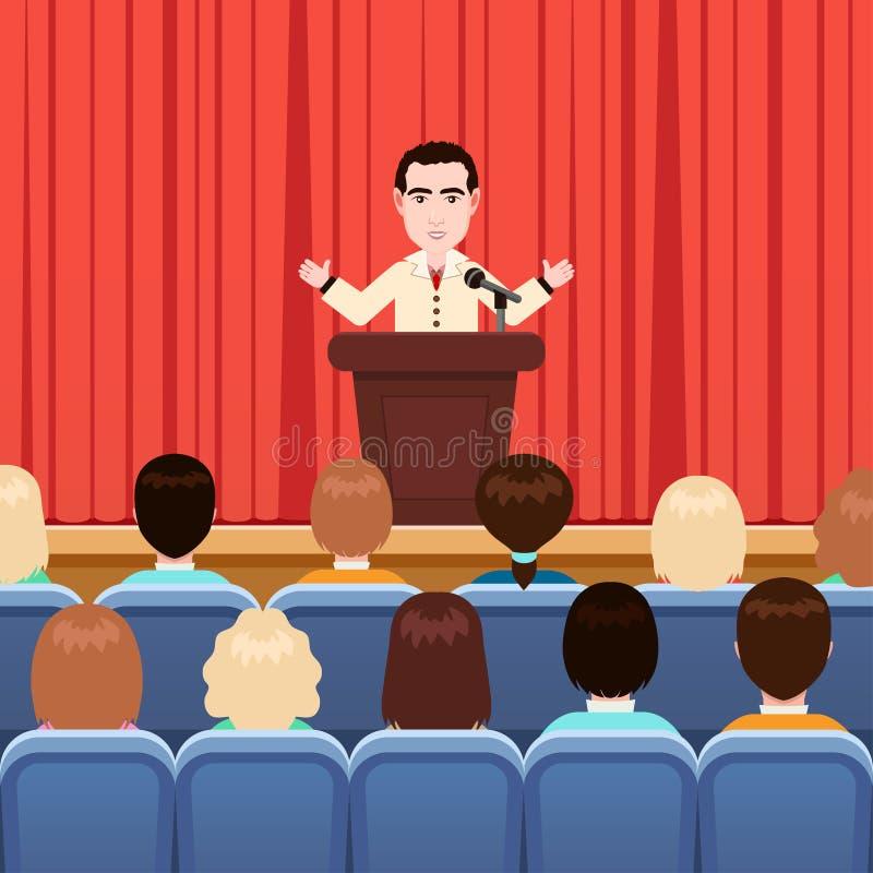 人是在会议室,传染媒介例证,平的动画片图画推出 在西装的男性有领带的在现场站立 库存例证