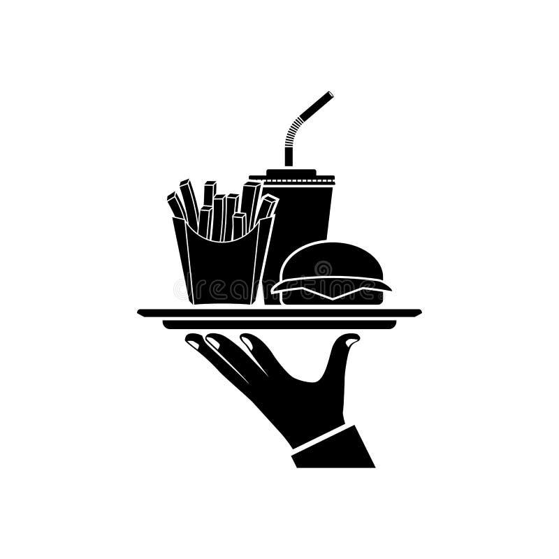 人是在盘子的坚持的食物 向量例证