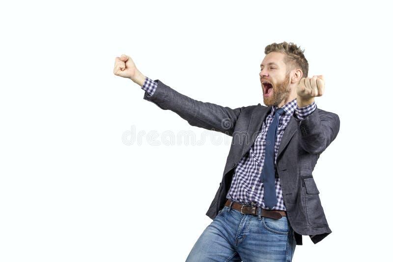 人是非常愉快的并且高兴地停滞他的手的尖叫 免版税库存图片
