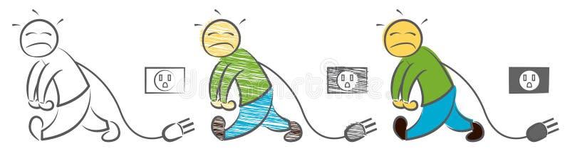 人有低落能量 被挫败的商人感觉 低功率标志 疲倦在工作 下来和看的字符 插座和s 皇族释放例证