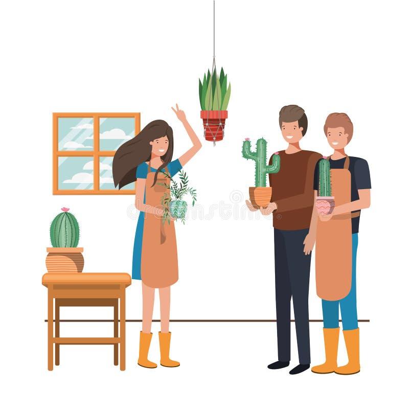 人有室内植物具体化字符的 皇族释放例证