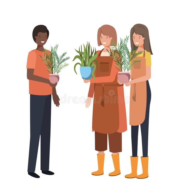 人有室内植物具体化字符的 库存例证