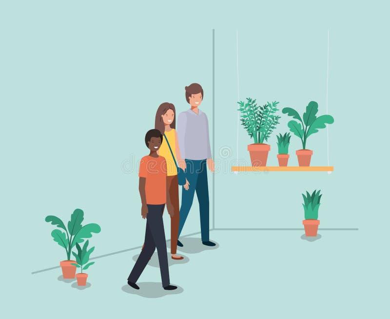 人有室内植物的在架子 库存例证