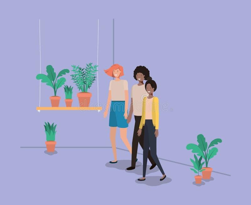 人有室内植物的在架子 皇族释放例证