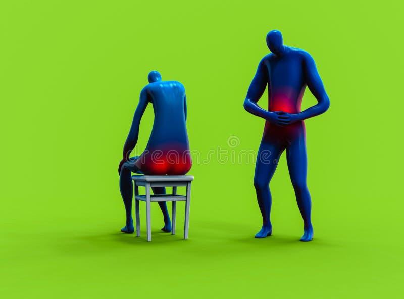 人有感觉的stomachache和的人痔疮 向量例证