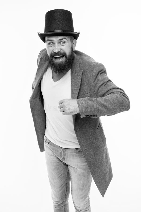 人有胡子的人快乐的面孔解决问题作为魔术师 魔术师字符 E 魔术师把戏 图库摄影