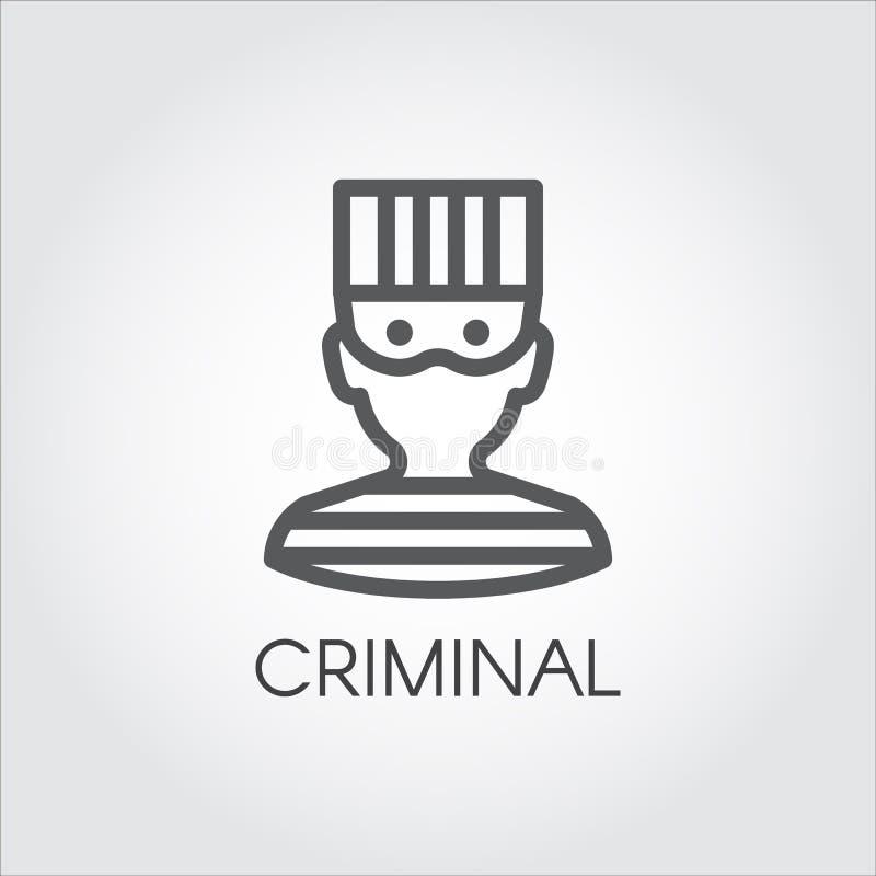 人朴素画象监狱衣裳的 在概述样式的商标图画 犯罪男性线性象  向量 向量例证