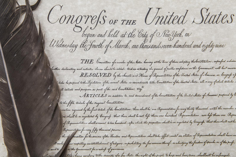 人权法案与羽毛笔的 免版税图库摄影