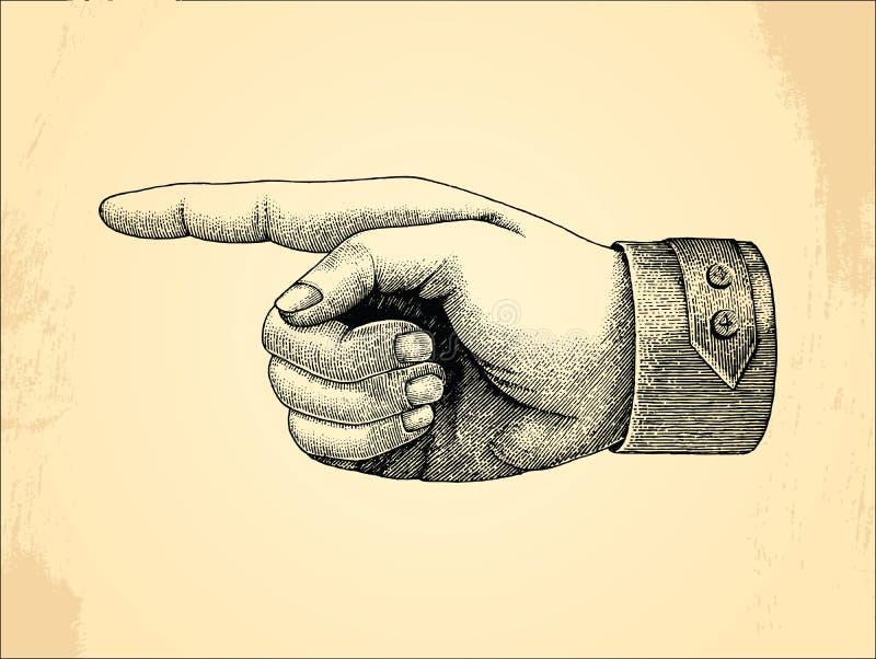 人权handpoint,剪影样式葡萄酒 库存例证