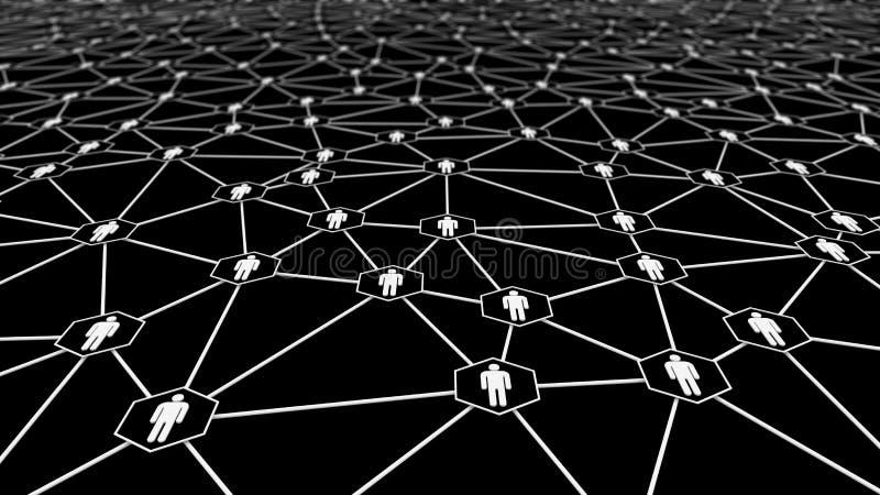 人标志和网络连接在黑背景在社会媒介和数字电脑技术社区概念 库存例证