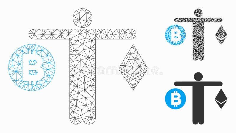 人比较Cryptocurrency传染媒介滤网第2个模型和三角马赛克象 皇族释放例证