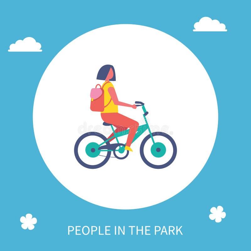 人民公园匆忙赶路的女孩骑马自行车动画片传染媒介 库存例证